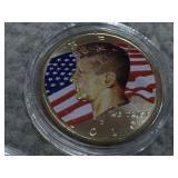 Three Kennedy half dollars