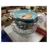 Glass bowl, platter & assorted