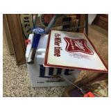 Tin Miller sign, Lite foam cooler & beer tap