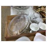 Plastic bowl, platter & assorted glasses