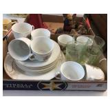Cups, saucers & green depression glass
