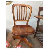 Wood swivel desk chair