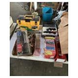 Tool box, light, ice tongs, soldering gun, misc