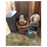 Wicker basket hamper, hangers and scale