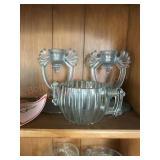 Candleholders and. Sugar bowl