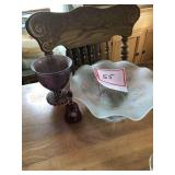 Glass bowl and heart shaped plate And red glass