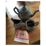 Metal tea kettle, cream and sugar