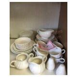 White glass dish set