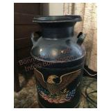 Eagle painted milk can