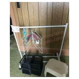 Clothes hanging rack stool and containers