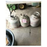 3 LP gas tanks newer fittings, one tank full