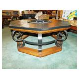 35  Oak & Wrought Iron Coffee Table