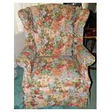 53  Wingback Armchair w/ Floral Tapestry