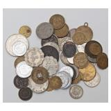Lot 6a 50 US & Foreign Coins & Tokens