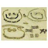 Lot 27 Cut Crystal Parures, Rhinestone Accessories