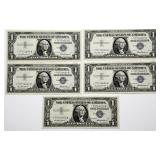 Lot 51a Five 1957 US Silver Certificate Star Notes
