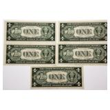Lot 54a Five 1935F US Silver Certificates