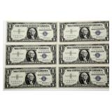 Lot 63a Six Consecutive 1957 US Silver Certificates