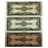 Lot 72a Three 1923 US Large Note Silver Certificates