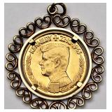 Lot 30a Kennedy One Ducat Gold Coin In Gold Setting