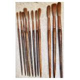 #16b 11 Vintage Grumbacher Brushes w/ Copper Ferrules