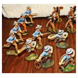 #26a  Eighteen Vintage Elastolin Wild West Figures