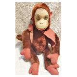 #27b  Vintage Musical Monkey Rubber Faced Soft Toy