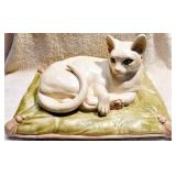 #40a  MCM Sculpture: Cat Relining On Cushion