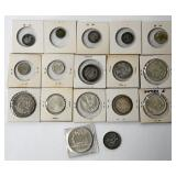 #45b  17 Silver Foreign Coins, Some Uncirculated