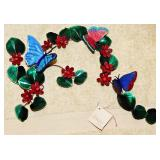 #50a  Large Bovano Butterfly And Floral Wall Sculpture
