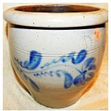 #58  One Gallon Blue Decorated Stoneware Crock