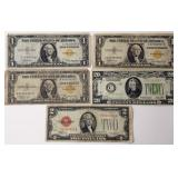 #65b  1928 $20, 1928 $2 Red, 3 1935 $1 Yellow Seals