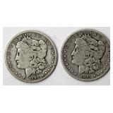 #73a  1890, 1891O Morgan Silver Dollars