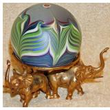 #74a  Orient & Flame Art Glass Paperweight & Stand