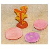 #79a  Four Pieces Of Colored Coral