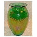 #80a  Glass Eye Studio Green Swirl Art Glass Vase