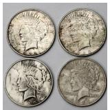 #84a  4 US Peace Silver Dollars 1922 1925