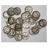 #87a  Twenty-Eight Mercury Dimes