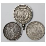 #90a  Two 1889, One 1896 Morgan Silver Dollars