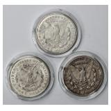 #93a  1921 Morgan Silver Dollar Type Set P, D, S