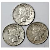 #96a  Three 1922 Peace Silver Dollars