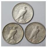 #96a  Three 1922 Peace Silv