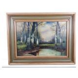 Framed River Scene Oil on Canvas