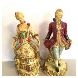 "Chalkware Figures, Colonial Lady and Gent 10"" tall"