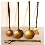 Five Pieces of Brass and Iron Utensils