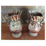Two Hammered Metal Pitchers