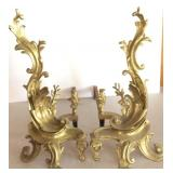 Pair of Cast Iron Andirons, with Gold Paint