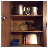 Kitchen Cabinet Lot, Coffee Pot, Sifter