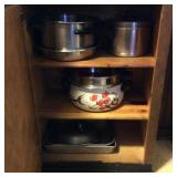 Cabinet Lot of Various Pots, Pans, Baking Ware