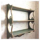 Vintage Green Painted Wall Shelf